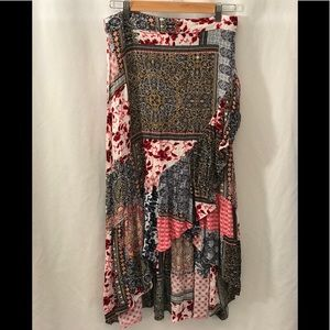 KORI AMERICA Patchwork Boho High Low Skirt Small